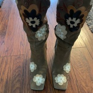 Nine West Knee High Boots with Flowers